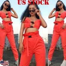 Goocheer Summer fashion Lady Female Women 2 PCS Outfits Sleeveless Orange Bandage Floral Print Top Pants Set Casual Jumpsuit