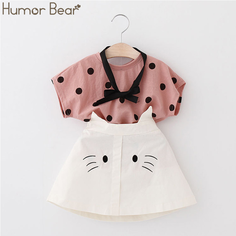 H9030aee8a16149489a2a26617b0ccb409 Humor Bear Girls Clothing Set 2020 Korean Summer New Ice Cream Bow T-shirt+Pants Kids Suit Toddler Baby Children's Clothes