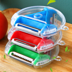 3 In 1 Multi Function Magic Trio Peeler Set Rotary Hanging Round Planer Peeler Cutter Vegetable Slicer Kitchen Tools Gadgets
