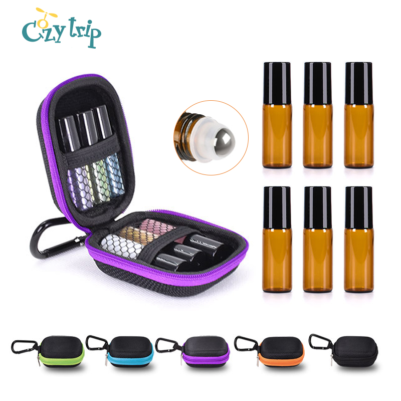 6 Bottles Essential Oil Case Protects for 5ml Rollers Essential Oils Bag Travel Carrying Storage Bags for Oil Bottle Organizer