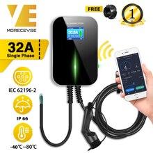 32A 1 fazlı APP Wifi evreli Wallbox elektrikli araç şarjı ile elektrikli araç şarj istasyonu tip 2 kablo IEC 62196 2 MINI Cooper için