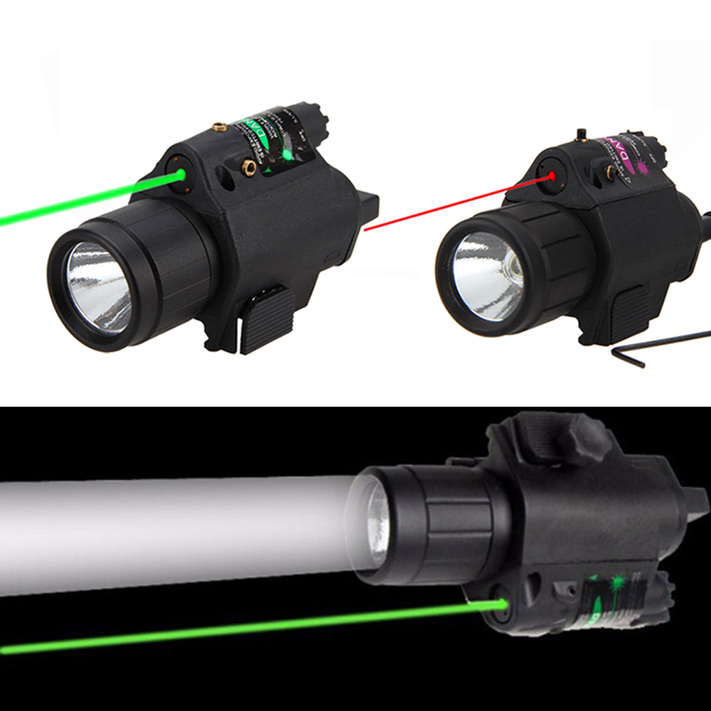 2 in 1 Combo Tactical Pulsed Green Laser Sight with 200LM LED Q5 Flashlight for Hunting Rifle and Pistol Glock 17   19 22-0