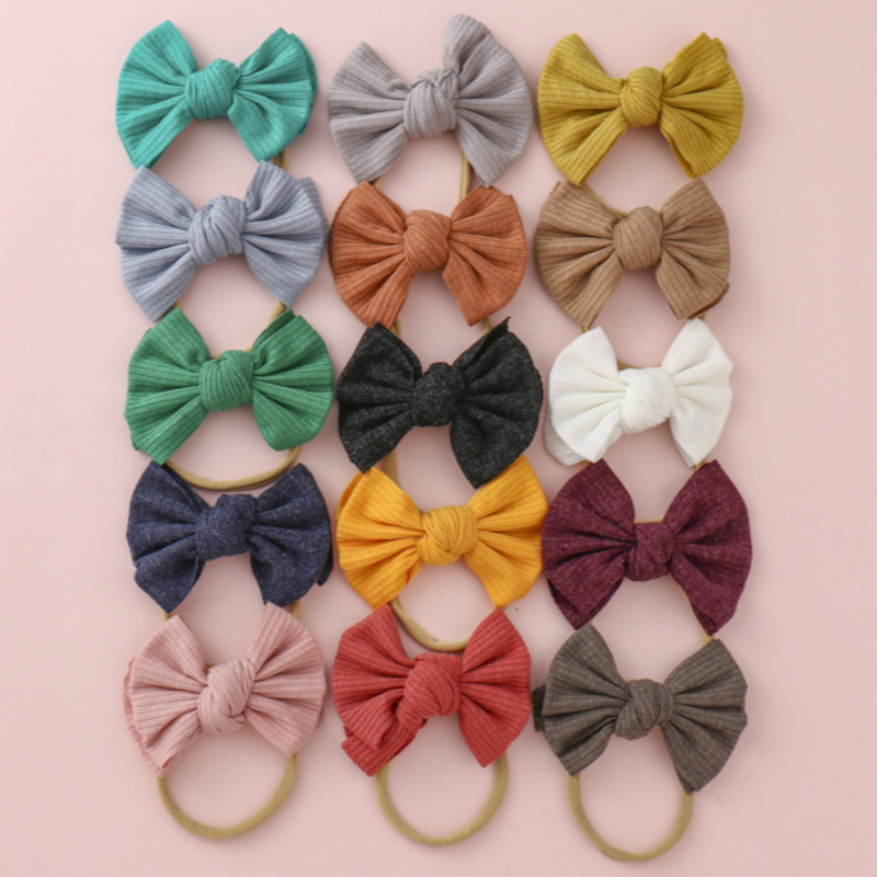 Bow Baby Headband Nylon Turban Newborn Ribbed Hairbands Toddler Headdress Kids Hair Band Girl Bow Knot Baby Hair Accessories