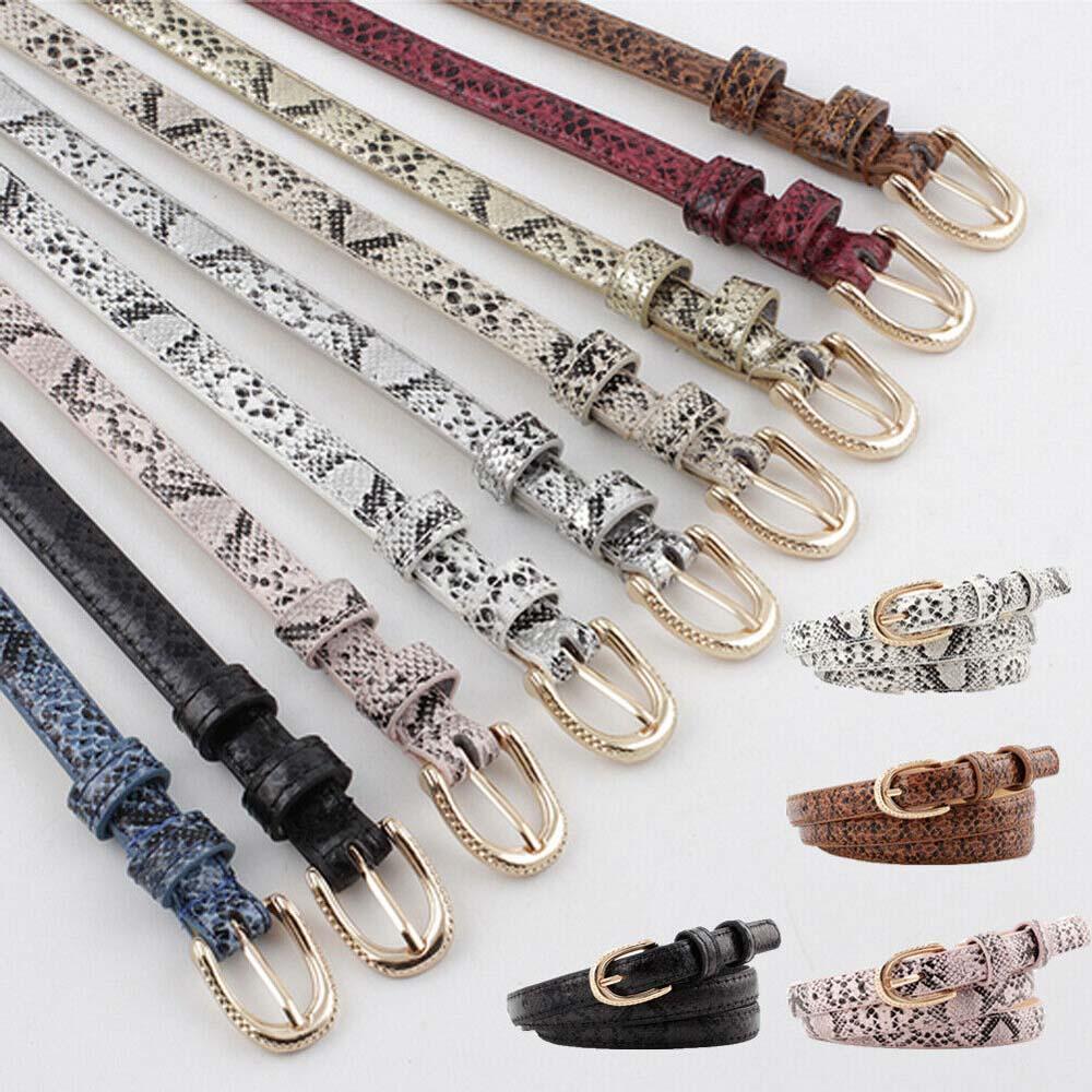 Classic Snake Skin Print Women Belt Leather Waistband Pin Buckle Thin Belt Strap Belts