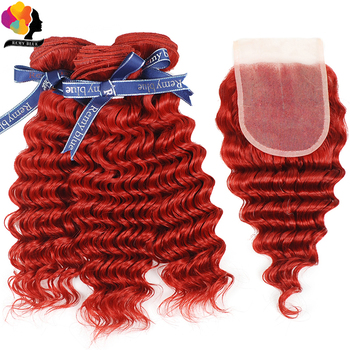 Remyblue Red Colored Bundles With Closure Deep Wave Human Hair Bundles With Closure Peruvian Remy Hair 3 Bundles with Closure