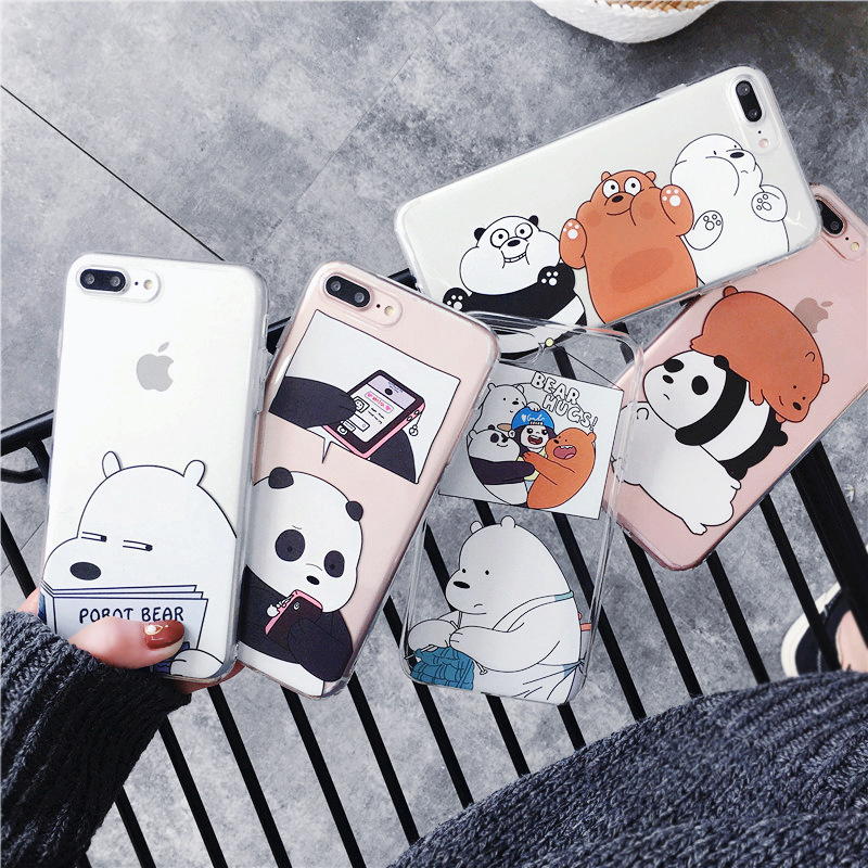 Cute Panda Phone Case For iPhone X 5S 6 6S 7 8 Plus X XS Max XR SE 2020 Polar bear Cover Soft TPU For Capa iPhone 8 11Pro Case