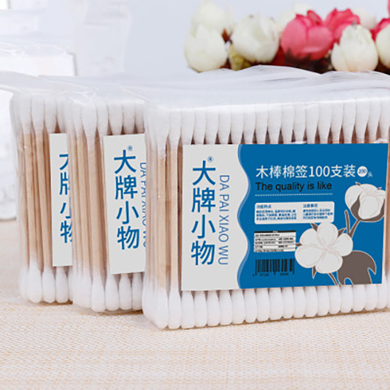 100 Pcs Double Head Disposable Cotton Swab Women Makeup Cotton Buds Tip Wood Sticks Nose Ears Medical Cleaning Health Care Tools