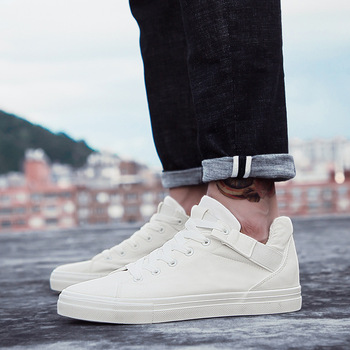 White Shoes Men's Vulcanize Sneakers High Top 2019 Autumn Spring Male Canvas Shoes Sneakers Black/white Design Sneaker
