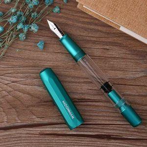Image 4 - Moonman T1 akryl/metalowy tłok pióro wieczne ze stopu aluminium grzywny stalówka 0.5mm dużej pojemności długopisy biurowe artykuły szkolne na prezent