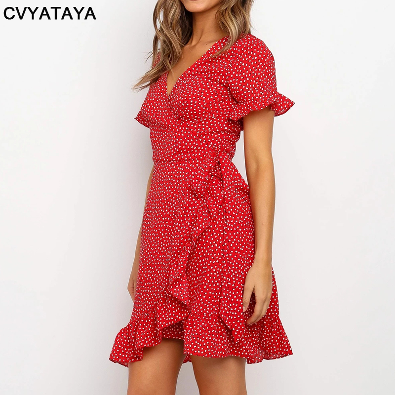 Rot Sexy V-ausschnitt Floral Print Selbst Krawatte Wrap Kleid Mini Kleid Frauen Boho Rüschen Saum Flare Hülse Sommer Mini kleider Vestidos 4