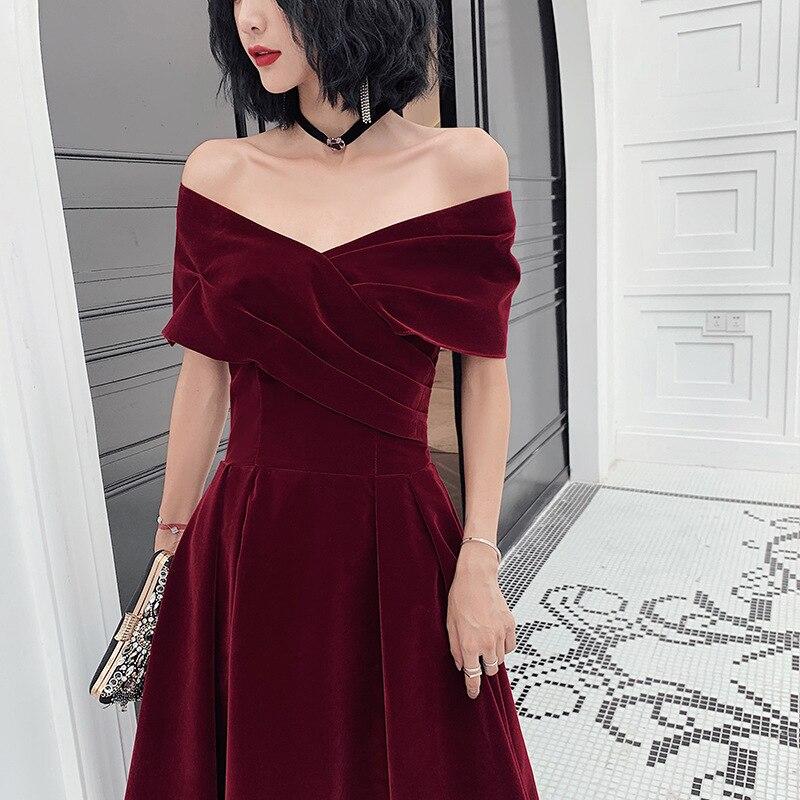 2020 Vestidos De Alfombra Roja Evening Dress Women 2020 New One Shoulder Big Size Temperament Small Velvet Wine Bridal Toast