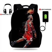 17inchLuxury-Mochila con estampado de baloncesto para adolescentes, morral escolar con cargador usb para ordenador portátil, morral escolar para niños