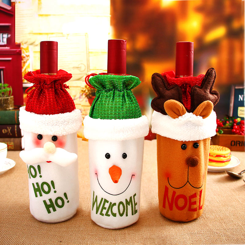 Image 2 - Latest Christmas Wine Bottle Dust Cover Bag New Year 2020 Xmas Gift Christmas Decoration for Home Santa Claus Christmas Presents-in Stockings & Gift Holders from Home & Garden