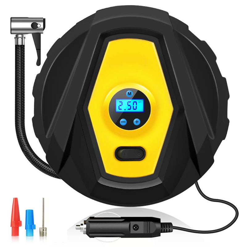 LED Light Automatic Timing Digital Pressure Gauge,3 High Air Flow Nozzles & Adaptors,for Cars/Motorcycle/Bicycle Tires