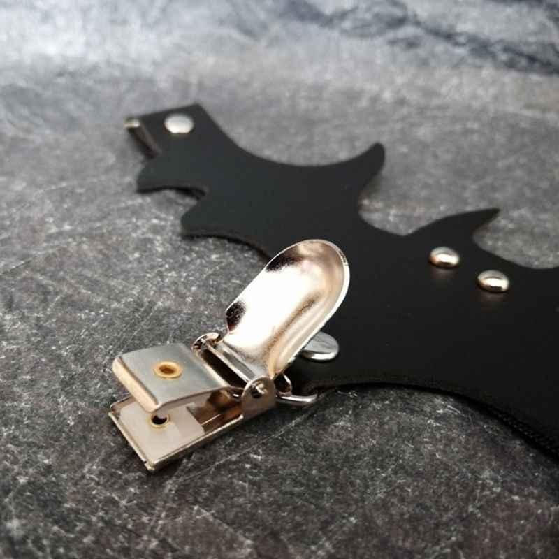 レディースハロウィンパンク黒バットのデザイン脚ハーネス調整可能な革弾性ガーターベルト腿指輪コスプレ衣装
