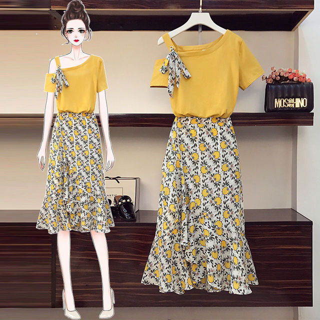 Plus Size Women's Skirt Suit 2021 Summer New Fashion Flower High-waisted Loose Skirts Two Piece Girl Sweet Bow Light Dress Set 1