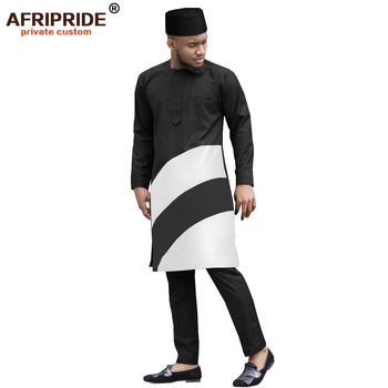 2019 african mens suits solid dashiki tops coats jackets +ankara pants +hat 3 pieces set print bazin riche AFRIPRIDE A1916004 1