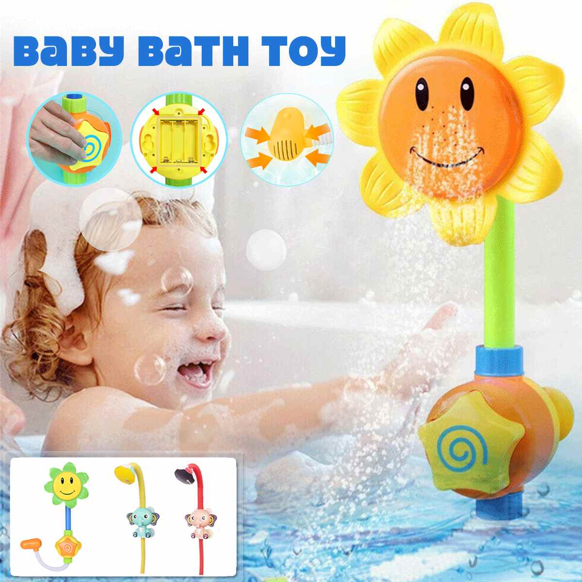 Baby Funny Water Game Bath Toy Bathing Tub Sunflower Shower Faucet Spray Water Swimming Bathroom Bath Toys For Children image