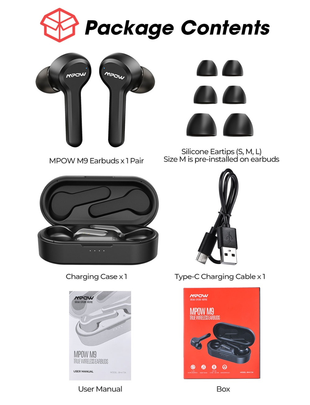 Mpow M9 TWS Earbuds True Wireless Bluetooth 5.0 Headphone IPX7 Waterproof Earphone With Charging Case 30H Playtime For iPhone 11 PK SoundPEATS TWS Earbuds (8)