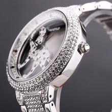 Davena 3d cheetah mulheres relógios marca superior senhoras relógio de quartzo feminino cheio diamante aço pulseira relógio à prova dwaterproof água moda