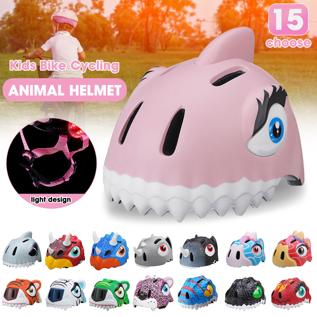 Skateboard-Helmet Bicycle-Caps Cycling Safety Child Light-Cap Kid 49-55cm title=