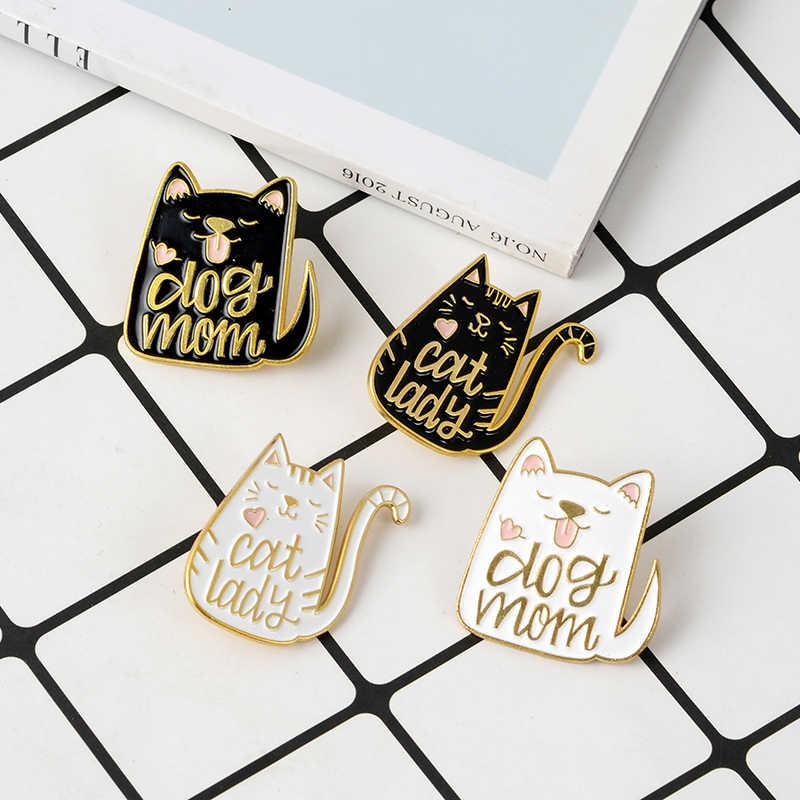Cute Hitam Putih Kucing Anjing Wanita Pin Bros Wanita Perhiasan Hadiah Gelap Kucing Planet Enamel Pin Pelukan CD Kucing Kerah pin Shirt Bag