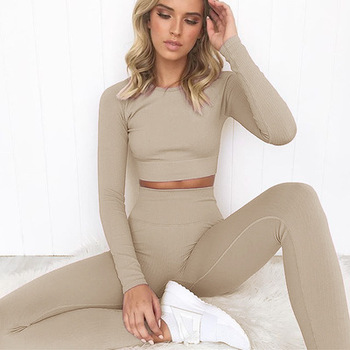 2 Piece Set Women Ribbed Seamless Long Sleeve Yoga Sets Workout Clothes for Women High Waist Sports Legging Long Sleeve Top 1