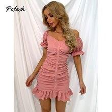 Pofash sólido rosa fora do ombro plissado mini vestido feminino v pescoço puff mangas ruched sexy bosycon vestido sem costas vestido de verão 2021