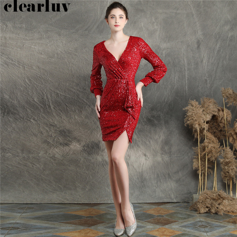 Sexy Prom Gown Vestidos De Gala DX233-1 2019 Plus Size Long Sleeve Prom Dress Short Red V-neck Sequins Dresses Women Party Night