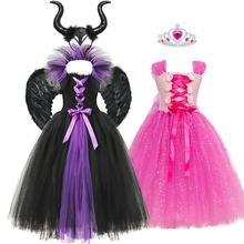 Zły kostium królowej Maleficent sukienka dziewczyny śpiąca królewna Aurora impreza z okazji Halloween sukienki księżniczka suknia z diabelskim rogiem tanie tanio YOFEEL COTTON Poliester Mesh CN (pochodzenie) Kostek Asymetryczne REGULAR Bez rękawów Nowość Pasuje prawda na wymiar weź swój normalny rozmiar