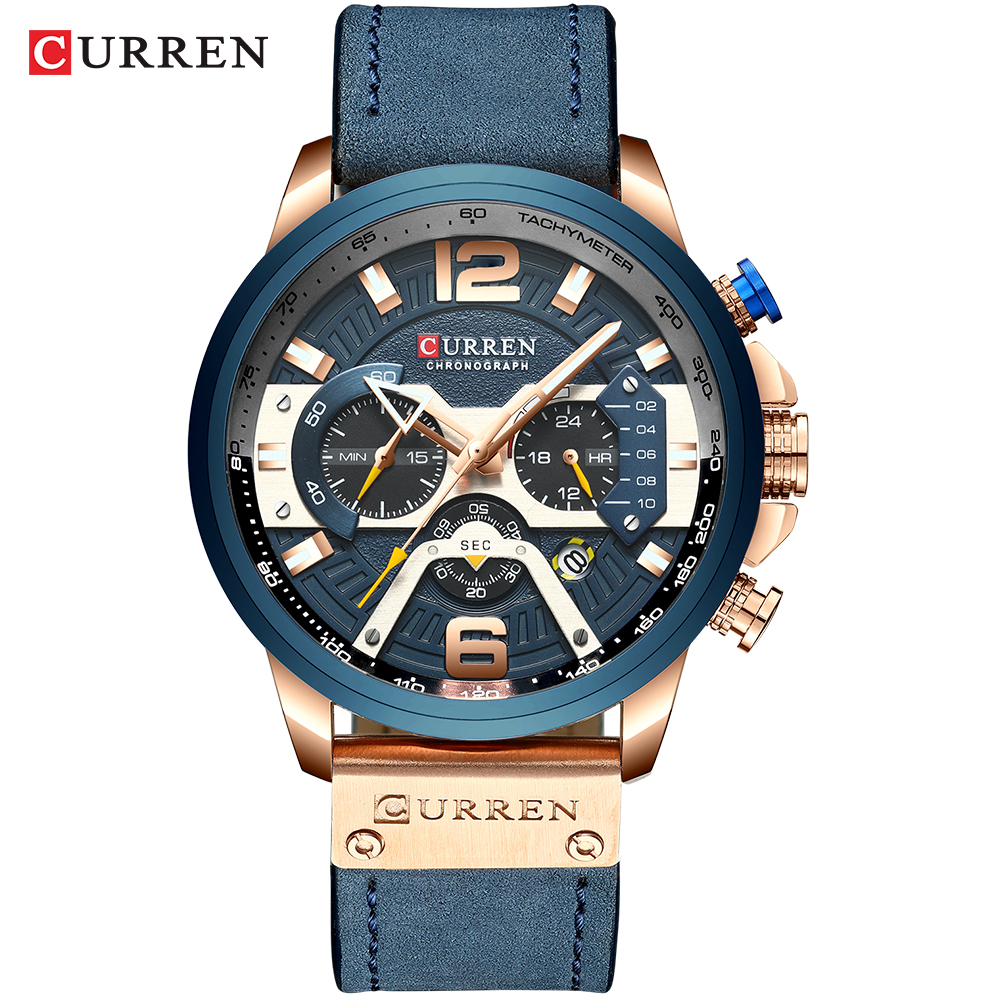 CURREN Watches ForMen Fashion Casual Sport Blue Highend Luxury  Brand Military Leather Wrist Watch Automatic Chronograph Wrist