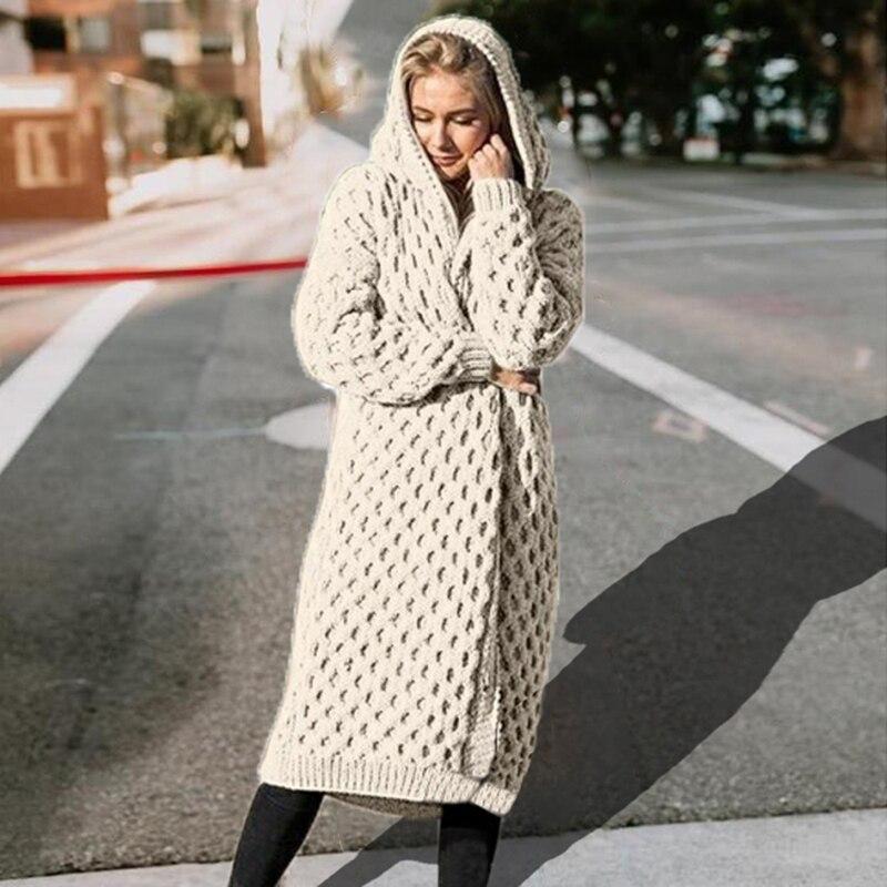 LOOZYKIT Women's Knitted Sweater Winter Thick Warm Hooded Long Sweater Women Long Sleeve Vintage Sweater Outwear Plus Size Coats