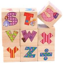 9PCS Six-sided 3D Jigsaw Cubes Letter Digital Puzzle Wooden Toys Accessories For Children Kids Educational Funny Games children 3d educational block toys six sides 9pcs wooden magic cubes baby transportation jigsaw block cube toys random sent