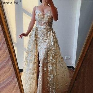 Image 3 - 2020 różowy bez rękawów ręcznie robione kwiaty suknie wieczorowe kryształ Sexy luksusowe Tulle suknie wieczorowe Real Photo LA60717