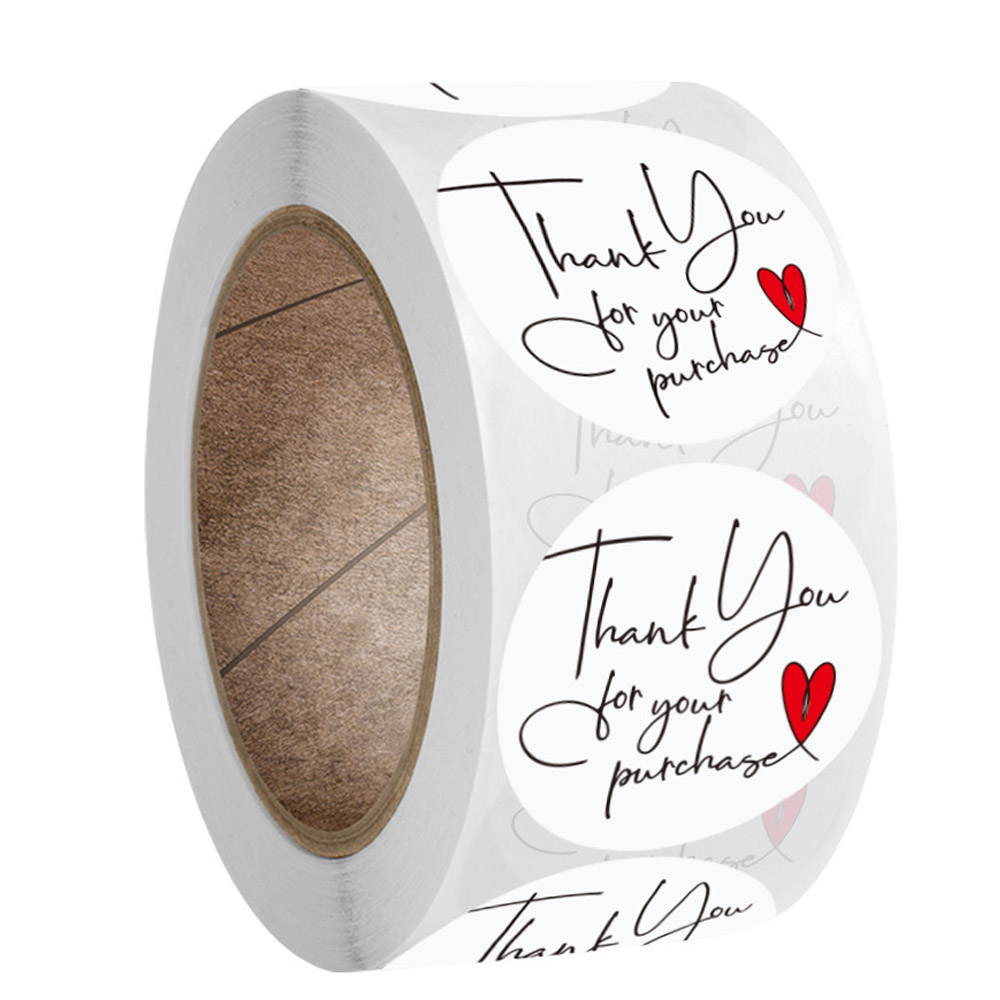 Sello redondo de papel Natural para Gracias pegatina, etiquetas hechas a mano con pegatina de amor, adhesivo de papelería, 100-500 Uds.