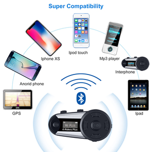 Image 5 - Fodsports V6 Plus Motorcycle Helmet Intercom Wireless Bluetooth Headset LED Screen FM Radio Full Duplex Intercomunicador