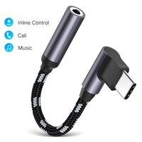 Cable adaptador de Audio para auriculares Huawei Mate 20 P30 Pro Xiaomi Mi 9, 90 grados, tipo C, 3,5mm, USB C a 3,5mm