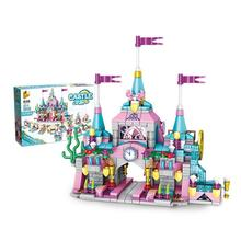 12-in-1 series of girls single style two-changing princess castle children assembled to insert building blocks toys