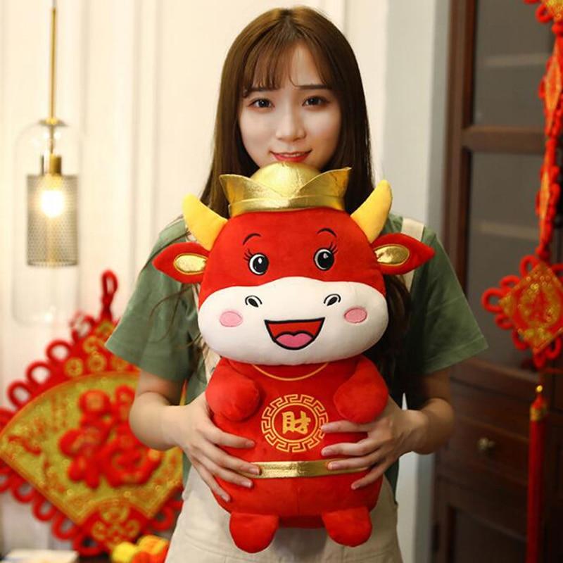 1 PC 22cm 2021 Year Chinese Zodiac Ox Cattle Plush Toys Cute Red Milk Cow Mascot Plush Doll Stuffed For Children Kids Gift-3