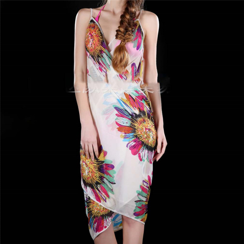 Printed Cover-ups Sexy Beach Dress Women Halter Sling Chiffon Beach Towel Bikini Wrap Pareo Skirts Open-Back Swimwear