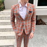 2 piece Casual Check Slim Suit Men Classical Plaid Groom Wedding Suit for Men Tuxedo Dress Mens Blazer Jacket Pant Plus Size