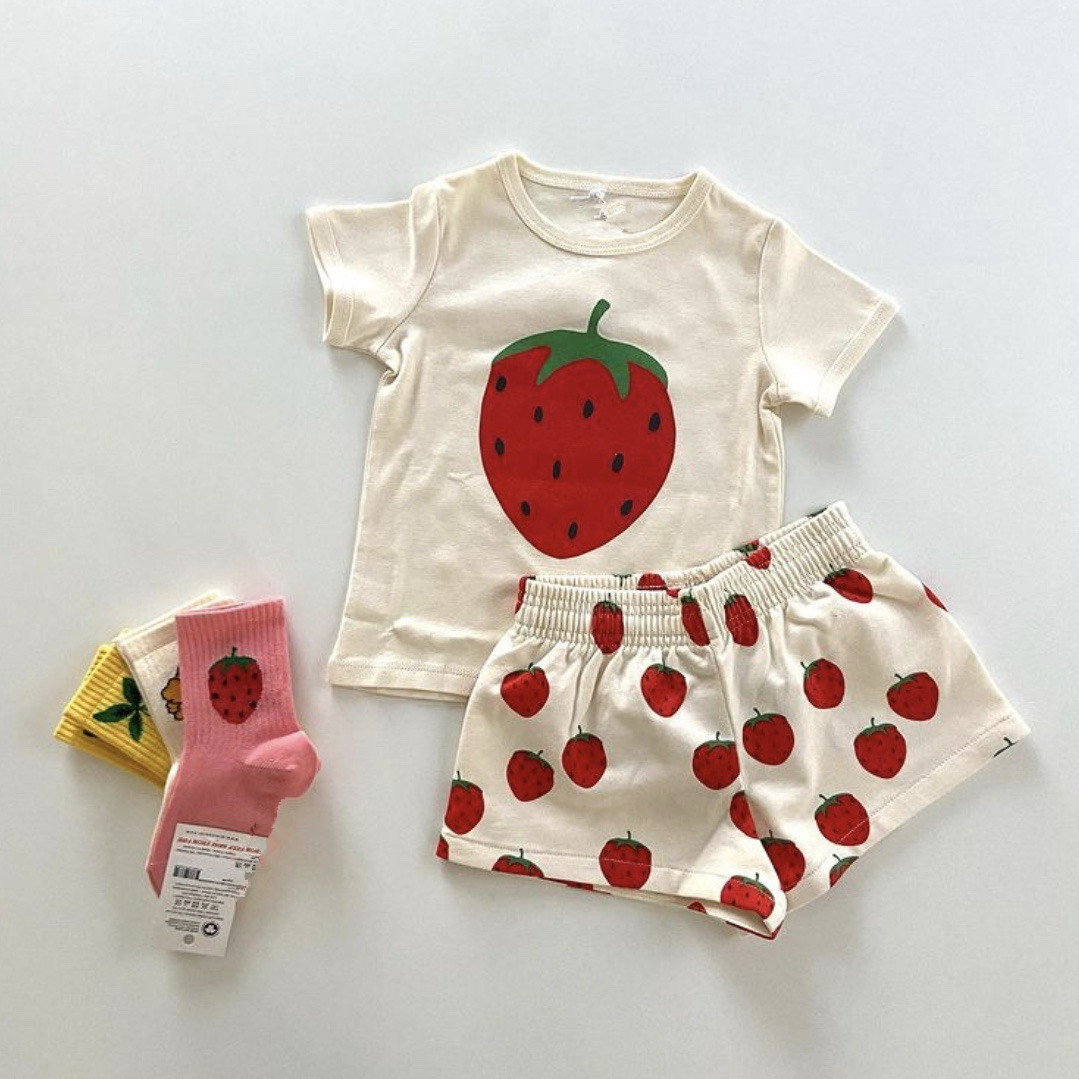 Kids Clothes Sets Mini Brand 2021 New Summer Toddler Girls T-shirts Strawberry Clothing Infant Baby Boys Outfit Pants Tops Tees 3