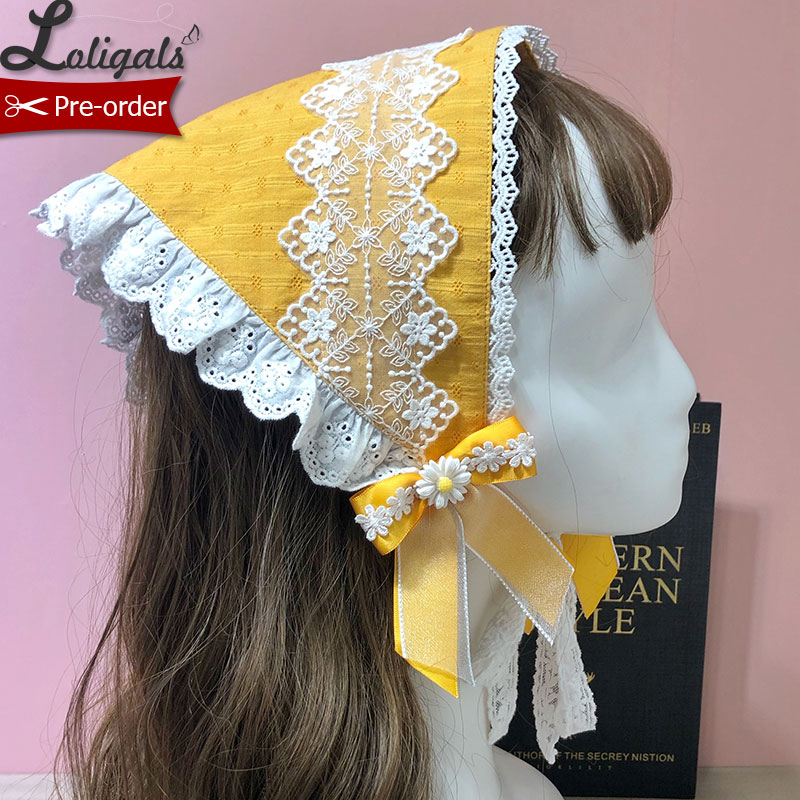 Sunflower ~ Sweet Lolita Headpiece Triangular Scarf By Alice Girl ~ Pre-order