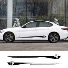 Faldón lateral para puerta de coche, pegatinas de rayas, accesorios, para Alfa Romeo Giulia Giulietta 159 156 MITO Stelvio 147 Sportiva Duetto GT 2 uds.