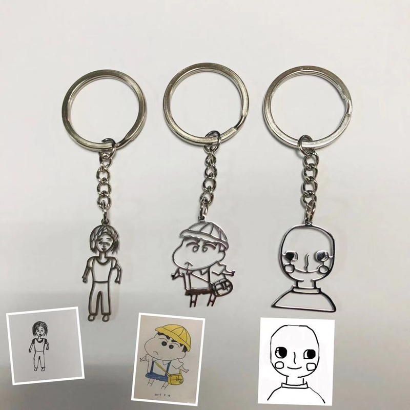 Personalized Necklace Custom Name Key Chain  Stainless Steel Kid's Art Child Artwork Customized Children's Drawing Necklace LOGO
