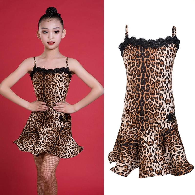 Sexy Latin Dance Dress Kids Dresses For Girls Leopard Dress Rumba Dress Competition Gatsby Dress Black Latin Dance Wear BL2449