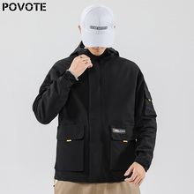 POVOTE brand men's jacket jacket trend Korean version tooling jacket hip hop coat loose zipper sportswear