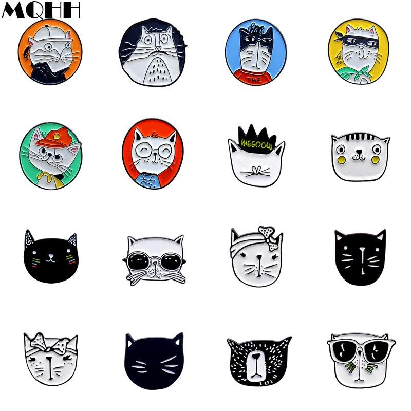 Эмалированная брошь с милыми персонажами мультфильмов, животными, кошками, черными, белыми очками, кошками, круглыми эмалированными значка...