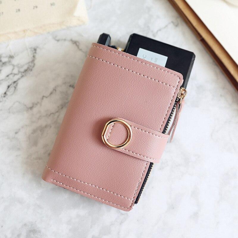 Женские кошельки, Маленький модный брендовый кожаный кошелек для женщин, женская сумка для карт, клатч, Женский кошелек, кошелек с зажимом для денег - Цвет: DarkPink