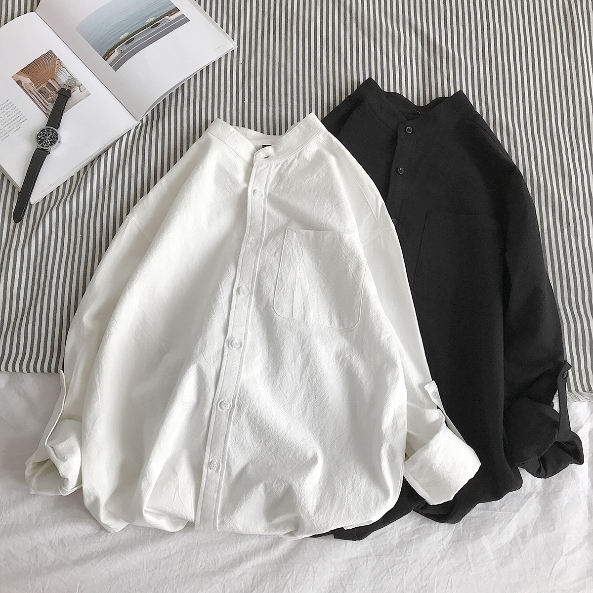 Simple Design Solid Colors Long Sleeve Shirts Korean Fashion Mandarin Collar 100% Cotton White Black Shirt Soft and Comfort 6